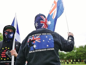 Protesters at a United Patriots Front rally in Melton, Victoria