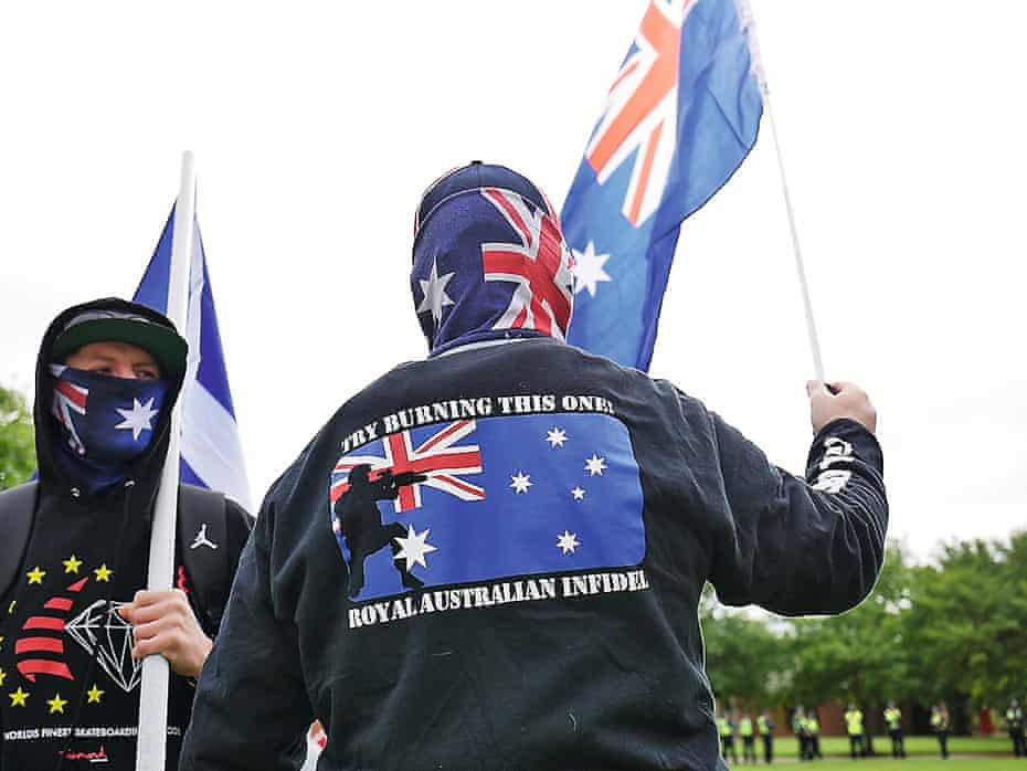 Protesters at a United Patriots Front rally in Melton, Victoria.
