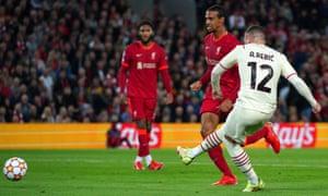 Milan's Ante Rebic scores their equaliser.