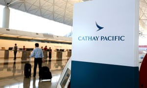 The First Class counter of Cathay Pacific Airways at Hong Kong Airport in Hong Kong.