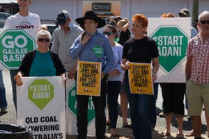 One Nation Leader Pauline Hanson attends a start Adani Rally in Clermont,