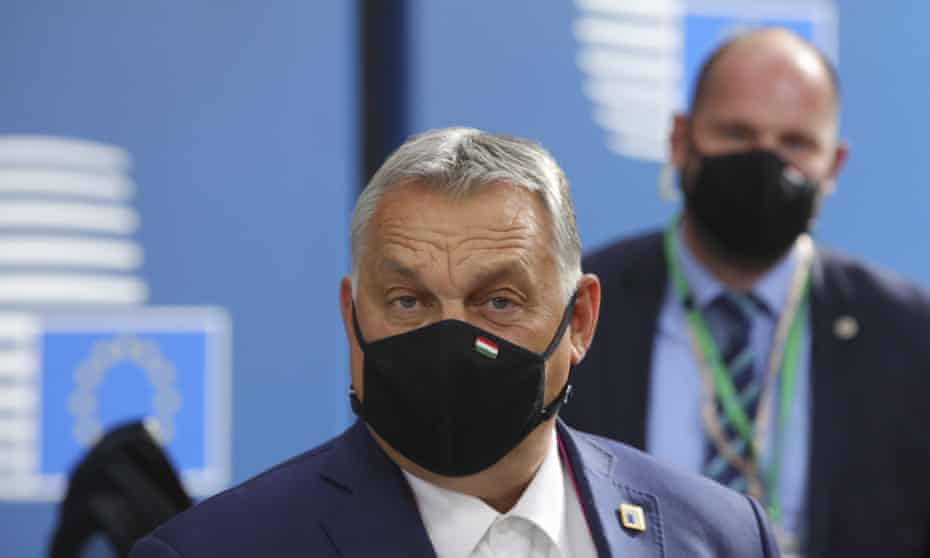 Hungary's prime minister Viktor Orbán arrives for an EU summit at the European council building in Brussels on 15 October