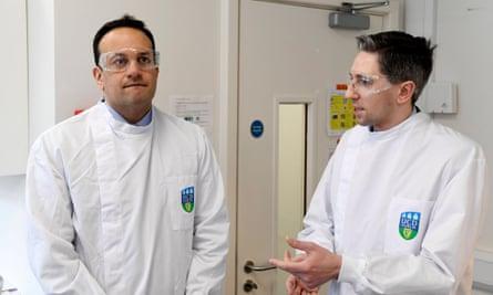 Irish prime minister Leo Varadkar (L) and Irish health minister Simon Harris visiting the National Virus Reference Laboratory in Dublin, Ireland, 18 March 2020.