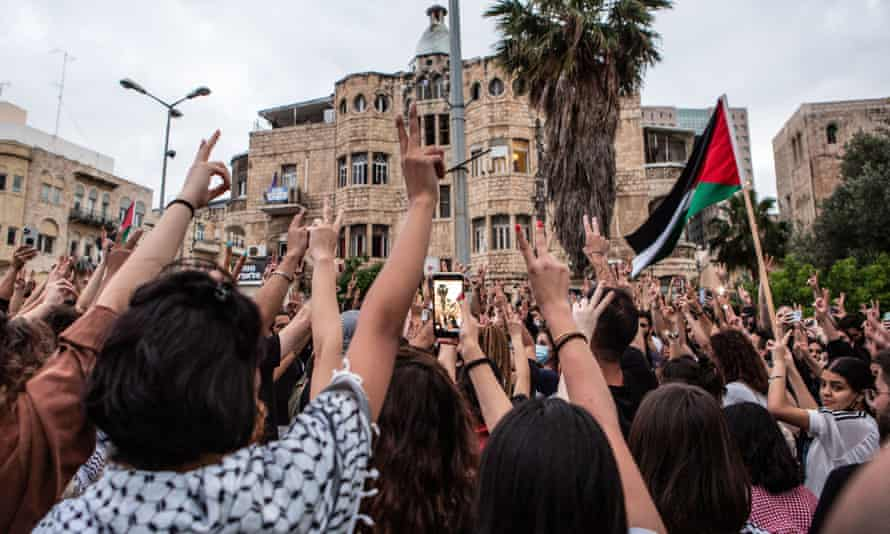 Palestinian citizens of Israel demonstrate in Haifa, to mark a nationwide general strike called by the country's Arab leadership.