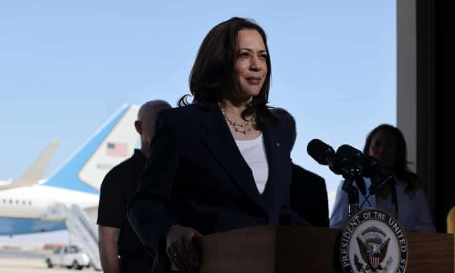 Kamala Harris delivers remarks before boarding Air Force Two at El Paso International Airport.