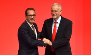 Owen Smith (left) and Jeremy Corbyn before the announcement of the winner.