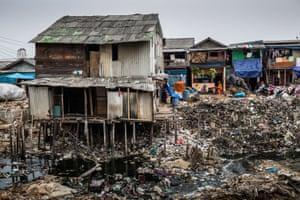 View of a riverside slum neighbourhood in Muara Baru, North Jakarta.
