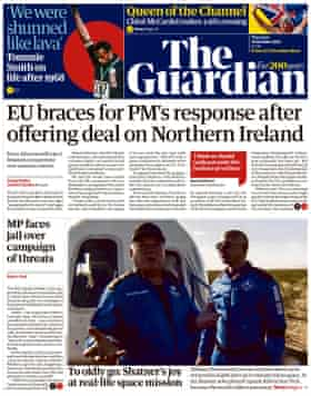 Guardian front page, 14 October 2021
