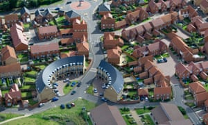 A modern housing estate in Norfolk. Housebuilders are leaving hundreds of thousands of plots idle, according to records.