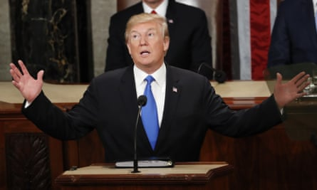 Donald Trump delivers his State of the Union address in 2018.
