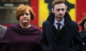 Owen Richards with his mother, Suzanne, arriving at the Royal Courts of Justice to give testimony.