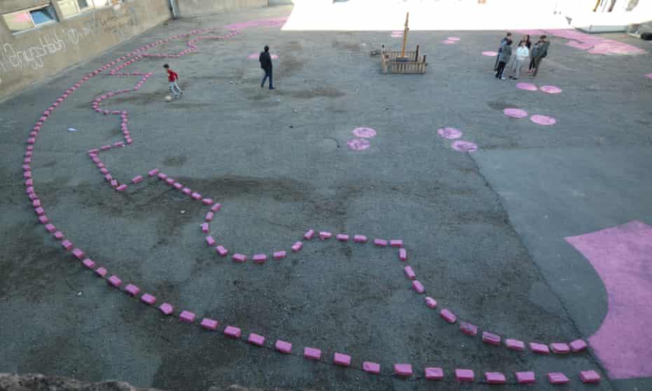 Babau Bureau painted the footprint of Rome's Santa Costanza mausoleum onto a Gldani courtyard; children have already devised new games around it.