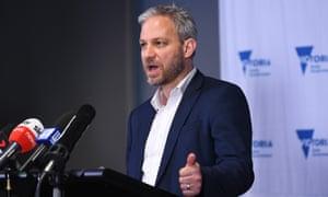 Brett Sutton addresses the media during Saturday's Covid presser in Melbourne