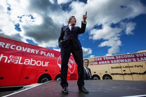 Glasgow, Scotland. Former Prime Minister Gordon Brown, pictured, joins Scottish Labour Leader Anas Sarwar for a rally ahead of the local elections