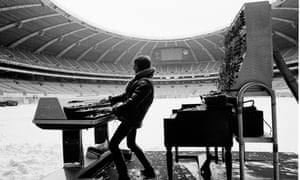 Keith Emerson rehearsing at Montreal's snowy Olympic stadium in February 1977.