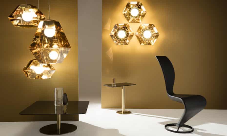 Futuristic and faceted: Cut Tall pendants,  £686 each, Tom Dixon