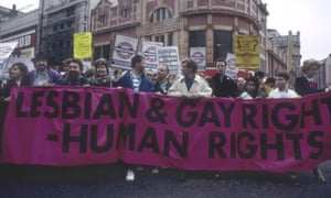 A demonstration against section 28 of the Local Government Bill preventing 'promotion' of homosexuality by local authorities (including schools), London 1988.