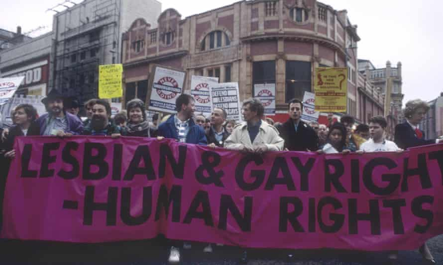 actor Ian McKellen leads a march against section 28, in 1988