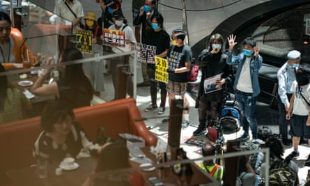 A rally against the security law in Hong Kong