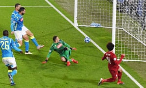 Mohamed Salah puts Liverpool ahead against Napoli in their Champions League Group C game.