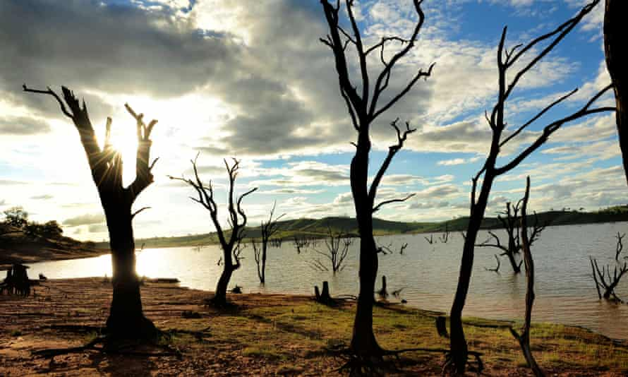 Lake Hume, New South Wales, Australia devastated by recent drought.