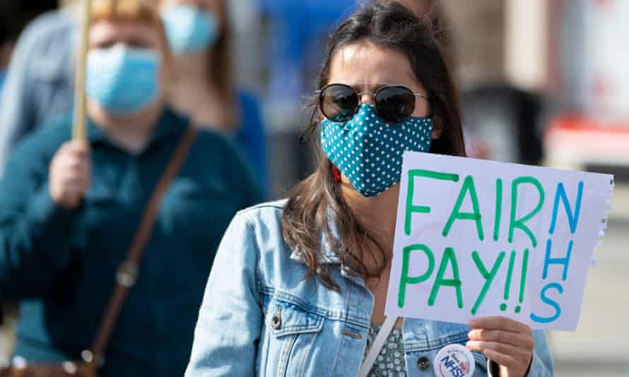 NHS workers protested last year in a campaign for fair pay.