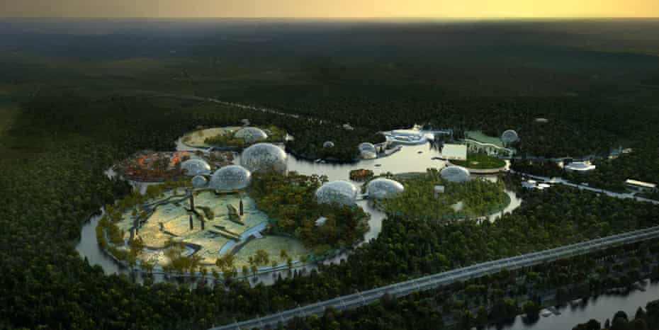 A rendering of a zoo proposed for St Petersburg … a series of islands surrounded by water and dotted with biospheres.