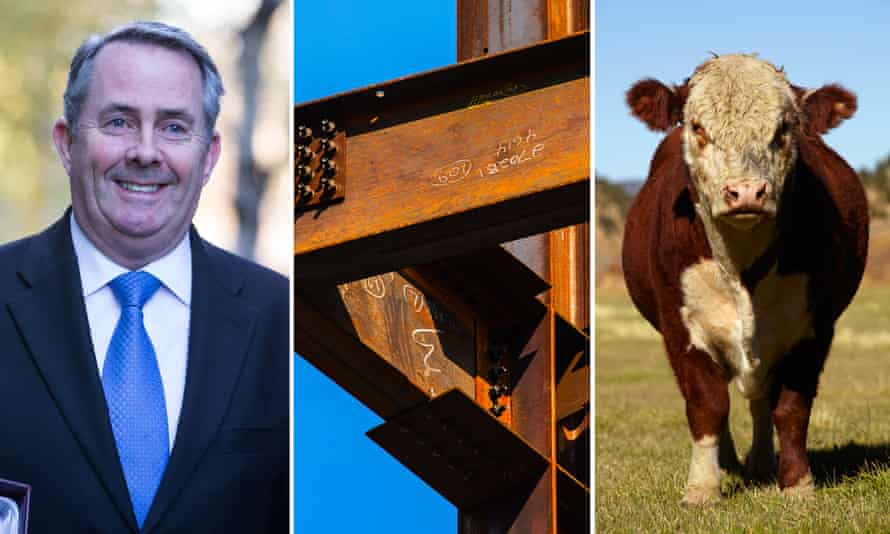 What links Liam Fox, steel girders and a cow? Yes, you guessed it ...
