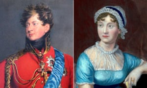 18th century portraits of George IV and Jane Austen. The prince regent was a great admirer of her novels; Austen disliked him.