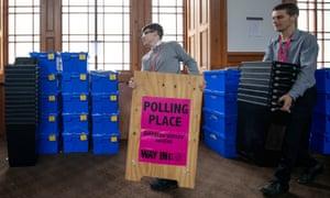 Ballot boxes for the European elections in Edinburgh