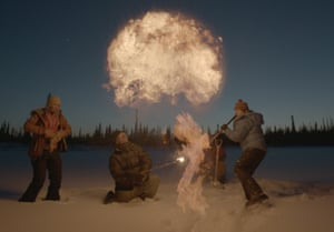 People puncturing the permafrost in the Arctic, emitting a cloud-like burst of methane