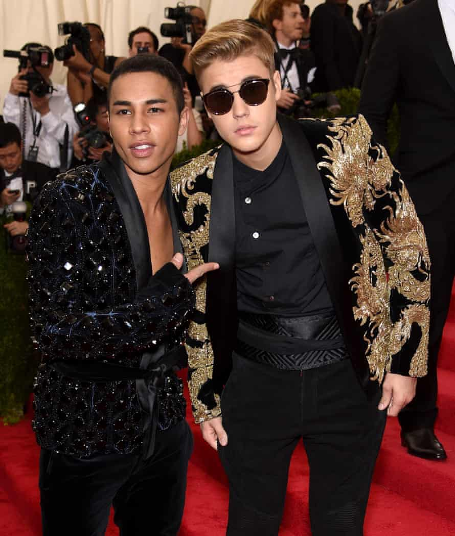 Olivier Rousteing hanging out with his buddy, the singer Justin Bieber, at a gala at the Metropolitan Museum of Art in New York City.