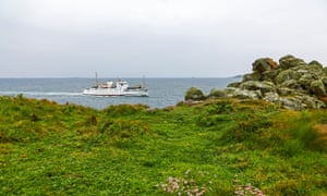 The Scillonian III sailing past St Mary's, the largest of the Isles of Scilly.