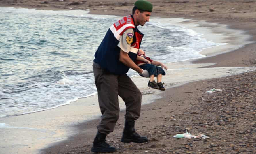 Alan Kurdi, the three-year-old Syrian boy whose body was washed up on a Turkish beach in September 2015. Children like him are dying in the Mediterranean at the rate of two a day