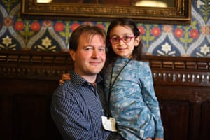 London, UKFive-year-old Gabriella Zaghari-Ratcliffe with her father Richard Ratcliffe during a press conference in the Jubilee room at the houses of parliament in Westminster, following Gabriella's return to the UK so she can attend school. Gabriella had been living in Iran where her mother has been detained in Evin prison by the government since April 2016