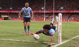 Brian To'o scores one of his two first-half tries for the Blues. Follow live updates from NSW Blues vs Qld Maroons in Game 1 of the 2021 State of Origin series.