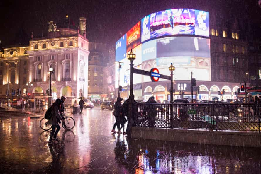 piccadilly circus on a very rainy night