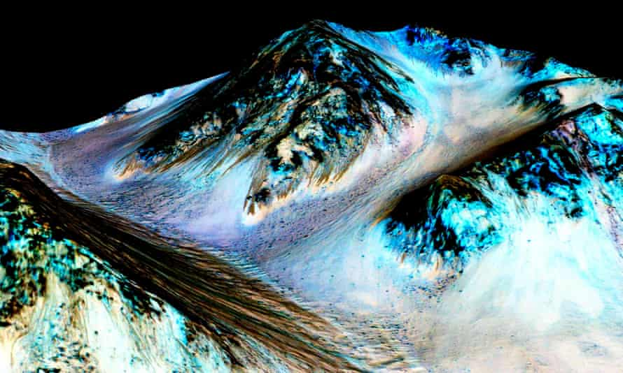 Dark, narrow, 100 meter-long streaks on Mars inferred to have been formed by contemporary flowing water are seen in a Nasa image.