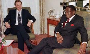 Tony Blair and Robert Mugabe in 1997.