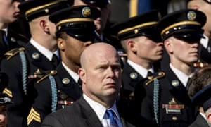 Acting attorney general Matt Whitaker, center, attends a wreath laying ceremony at Arlington National Cemetery on Veterans Day.