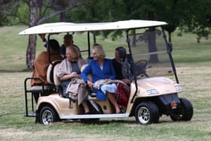 The Duchess goes out in a golf buggy to meet the local kangaroos ...