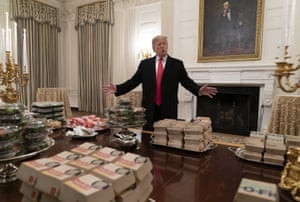 In January this year, Trump hosted the Clemson Tigers at the White House – and an abundance of fast food was on the menu.