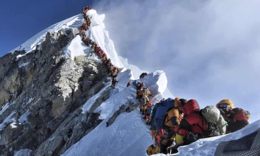 Nirmal Purja's photograph taken in May this year showing a queue of climbers waiting to reach Everest's summit