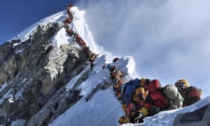 A queue of climbers on Everest. Photograph by Nirmal Purja.