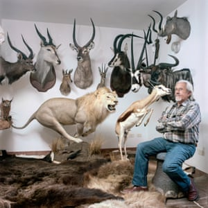 House of a hunter … Eugenio, 67, a former vet, in the trophy room of his home at Collepepe in Perugia