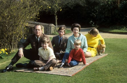 From left, Prince Philip, Andrew, Charles, the Queen, Prince Edward and Princess Anne at Windsor.