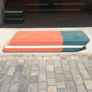 An eraser bench outside the DOX gallery in Prague.