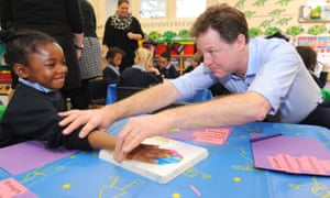 Nick Clegg at Boutcher primary school in Southwark, south London.