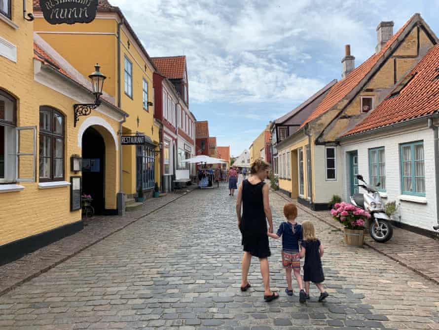Helen and her children in Ærøskøbing, Denmark.