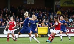 Danielle van de Donk of Arsenal scores.